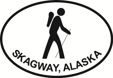 Skagway Hiking decal from Oval Envy.  Great price for a durable vinyl decal.  We've got animals, beaches, dogs, cats and more!  Search our catalog for your next Euro Oval Decal.