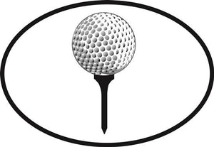 Golf ball decal from Oval Envy.  Great price for a durable vinyl decal.  We've got animals, beaches, dogs, cats and more!  Search our catalog for your next Euro Oval Decal.