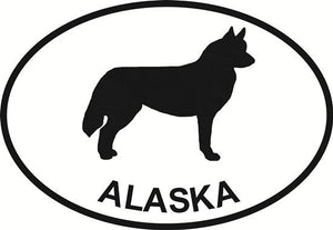 Alaska Husky decal from Oval Envy.  Great price for a durable vinyl decal.  We've got animals, beaches, dogs, cats and more!  Search our catalog for your next Euro Oval Decal.