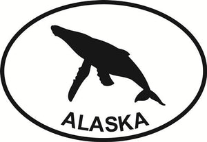 Alaska Whale decal from Oval Envy.  Great price for a durable vinyl decal.  We've got animals, beaches, dogs, cats and more!  Search our catalog for your next Euro Oval Decal.