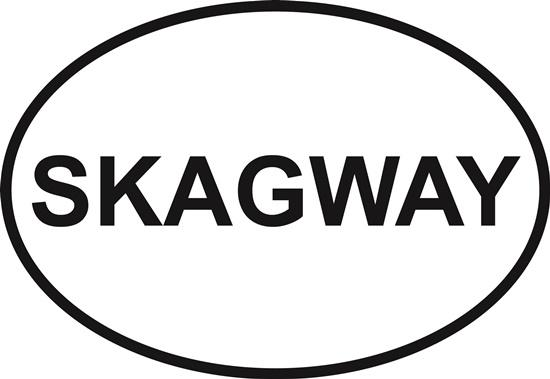 Skagway decal from Oval Envy.  Great price for a durable vinyl decal.  We've got animals, beaches, dogs, cats and more!  Search our catalog for your next Euro Oval Decal.