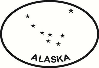 Alaska Flag decal from Oval Envy.  Great price for a durable vinyl decal.  We've got animals, beaches, dogs, cats and more!  Search our catalog for your next Euro Oval Decal.