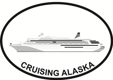 Alaska Cruise decal from Oval Envy.  Great price for a durable vinyl decal.  We've got animals, beaches, dogs, cats and more!  Search our catalog for your next Euro Oval Decal.