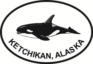 Ketchikan Orca decal from Oval Envy.  Great price for a durable vinyl decal.  We've got animals, beaches, dogs, cats and more!  Search our catalog for your next Euro Oval Decal.