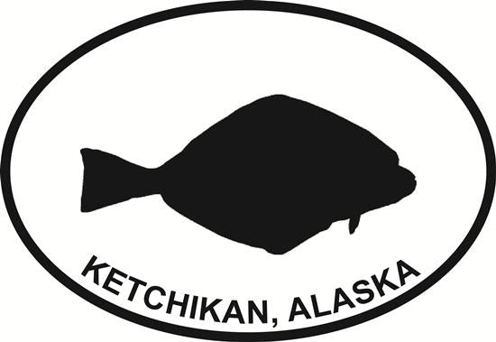 Ketchikan Halibut decal from Oval Envy.  Great price for a durable vinyl decal.  We've got animals, beaches, dogs, cats and more!  Search our catalog for your next Euro Oval Decal.