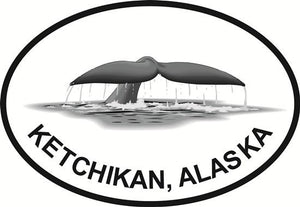 Ketchikan Fluke decal from Oval Envy.  Great price for a durable vinyl decal.  We've got animals, beaches, dogs, cats and more!  Search our catalog for your next Euro Oval Decal.