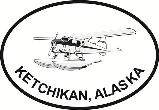 Ketchikan Bush Pilot decal from Oval Envy.  Great price for a durable vinyl decal.  We've got animals, beaches, dogs, cats and more!  Search our catalog for your next Euro Oval Decal.