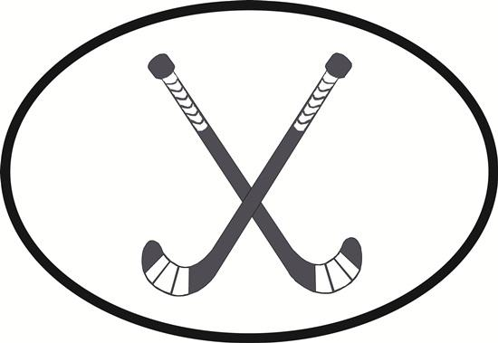 Field hockey decal from Oval Envy.  Great price for a durable vinyl decal.  We've got animals, beaches, dogs, cats and more!  Search our catalog for your next Euro Oval Decal.