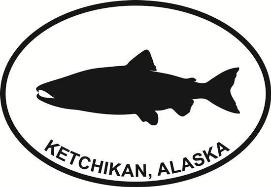 Ketchikan Salmon decal from Oval Envy.  Great price for a durable vinyl decal.  We've got animals, beaches, dogs, cats and more!  Search our catalog for your next Euro Oval Decal.