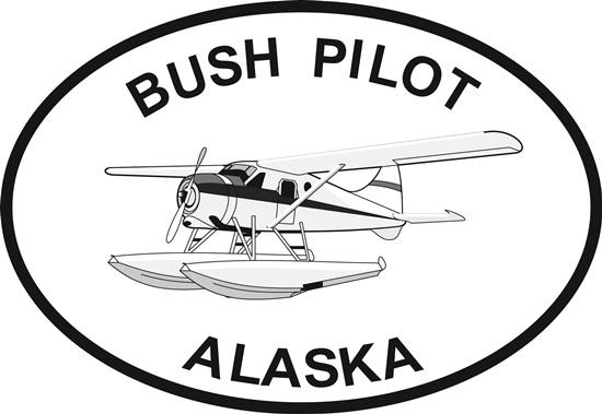 Alaska Bush Pilot decal from Oval Envy.  Great price for a durable vinyl decal.  We've got animals, beaches, dogs, cats and more!  Search our catalog for your next Euro Oval Decal.