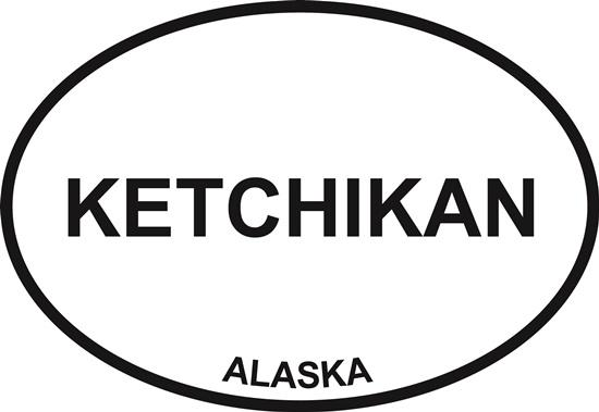 Ketchikan decal from Oval Envy.  Great price for a durable vinyl decal.  We've got animals, beaches, dogs, cats and more!  Search our catalog for your next Euro Oval Decal.
