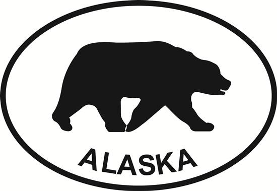 Alaska Bear decal from Oval Envy.  Great price for a durable vinyl decal.  We've got animals, beaches, dogs, cats and more!  Search our catalog for your next Euro Oval Decal.