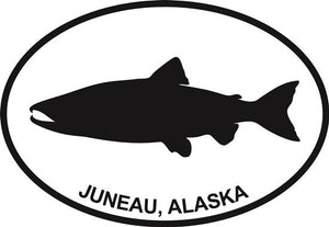 Juneau Salmon decal from Oval Envy.  Great price for a durable vinyl decal.  We've got animals, beaches, dogs, cats and more!  Search our catalog for your next Euro Oval Decal.