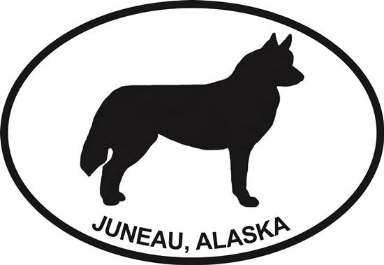 Juneau Husky decal from Oval Envy.  Great price for a durable vinyl decal.  We've got animals, beaches, dogs, cats and more!  Search our catalog for your next Euro Oval Decal.