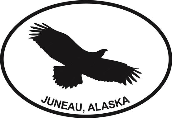 Juneau Eagle decal from Oval Envy.  Great price for a durable vinyl decal.  We've got animals, beaches, dogs, cats and more!  Search our catalog for your next Euro Oval Decal.