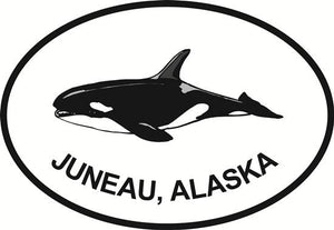 Juneau Orca decal from Oval Envy.  Great price for a durable vinyl decal.  We've got animals, beaches, dogs, cats and more!  Search our catalog for your next Euro Oval Decal.