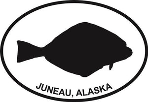 Juneau Halibut decal from Oval Envy.  Great price for a durable vinyl decal.  We've got animals, beaches, dogs, cats and more!  Search our catalog for your next Euro Oval Decal.