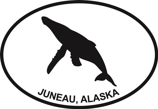 Juneau Whale decal from Oval Envy.  Great price for a durable vinyl decal.  We've got animals, beaches, dogs, cats and more!  Search our catalog for your next Euro Oval Decal.