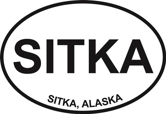 Sitka decal from Oval Envy.  Great price for a durable vinyl decal.  We've got animals, beaches, dogs, cats and more!  Search our catalog for your next Euro Oval Decal.