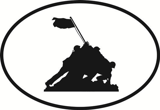 Iwo Jima Memorial decal from Oval Envy.  Great price for a durable vinyl decal.  We've got animals, beaches, dogs, cats and more!  Search our catalog for your next Euro Oval Decal.