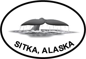 Sitka Fluke decal from Oval Envy.  Great price for a durable vinyl decal.  We've got animals, beaches, dogs, cats and more!  Search our catalog for your next Euro Oval Decal.