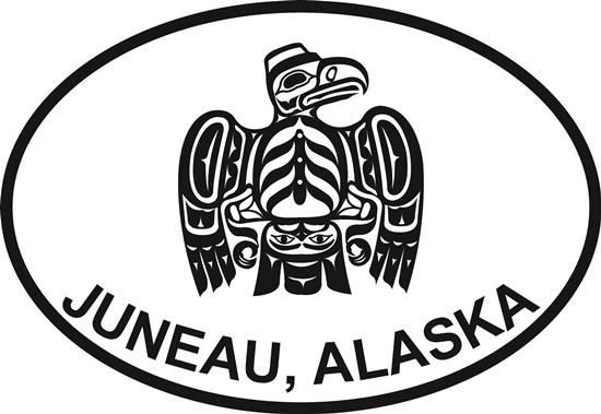 Juneau Totem Eagle decal from Oval Envy.  Great price for a durable vinyl decal.  We've got animals, beaches, dogs, cats and more!  Search our catalog for your next Euro Oval Decal.