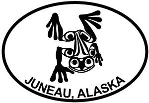 Juneau Totem Frog decal from Oval Envy.  Great price for a durable vinyl decal.  We've got animals, beaches, dogs, cats and more!  Search our catalog for your next Euro Oval Decal.