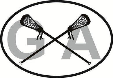 Georgia Lacrosse decal from Oval Envy.  Great price for a durable vinyl decal.  We've got animals, beaches, dogs, cats and more!  Search our catalog for your next Euro Oval Decal.
