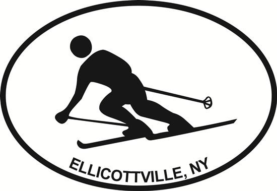 Ellicottville, NY decal from Oval Envy.  Great price for a durable vinyl decal.  We've got animals, beaches, dogs, cats and more!  Search our catalog for your next Euro Oval Decal.