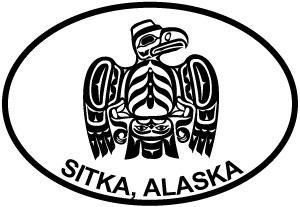 Sitka Totem Bird H decal from Oval Envy.  Great price for a durable vinyl decal.  We've got animals, beaches, dogs, cats and more!  Search our catalog for your next Euro Oval Decal.