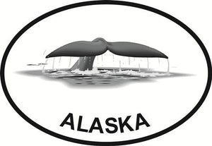 Alaska Fluke decal from Oval Envy.  Great price for a durable vinyl decal.  We've got animals, beaches, dogs, cats and more!  Search our catalog for your next Euro Oval Decal.