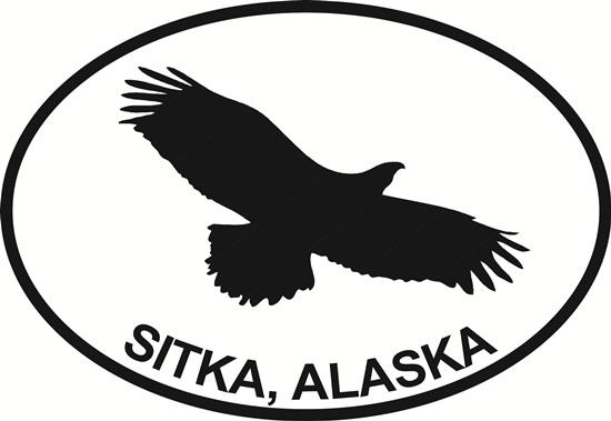 Sitka Eagle decal from Oval Envy.  Great price for a durable vinyl decal.  We've got animals, beaches, dogs, cats and more!  Search our catalog for your next Euro Oval Decal.