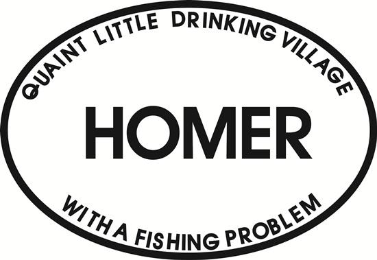 Homer Problem decal from Oval Envy.  Great price for a durable vinyl decal.  We've got animals, beaches, dogs, cats and more!  Search our catalog for your next Euro Oval Decal.