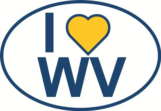 I Love West Virginia decal from Oval Envy.  Great price for a durable vinyl decal.  We've got animals, beaches, dogs, cats and more!  Search our catalog for your next Euro Oval Decal.