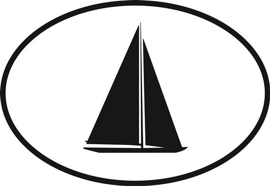 Sailing decal from Oval Envy.  Great price for a durable vinyl decal.  We've got animals, beaches, dogs, cats and more!  Search our catalog for your next Euro Oval Decal.