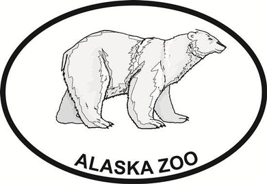 Alaska Zoo - Polar Bear decal from Oval Envy.  Great price for a durable vinyl decal.  We've got animals, beaches, dogs, cats and more!  Search our catalog for your next Euro Oval Decal.
