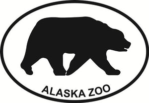 Alaska Zoo - Bear decal from Oval Envy.  Great price for a durable vinyl decal.  We've got animals, beaches, dogs, cats and more!  Search our catalog for your next Euro Oval Decal.