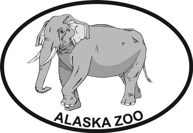 Alaska Zoo - Elephant decal from Oval Envy.  Great price for a durable vinyl decal.  We've got animals, beaches, dogs, cats and more!  Search our catalog for your next Euro Oval Decal.