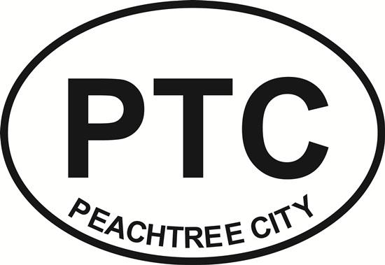 Peachtree City decal from Oval Envy.  Great price for a durable vinyl decal.  We've got animals, beaches, dogs, cats and more!  Search our catalog for your next Euro Oval Decal.