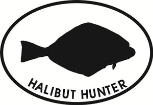 Halibut Hunter decal from Oval Envy.  Great price for a durable vinyl decal.  We've got animals, beaches, dogs, cats and more!  Search our catalog for your next Euro Oval Decal.