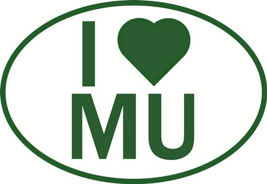 I Love MU decal from Oval Envy.  Great price for a durable vinyl decal.  We've got animals, beaches, dogs, cats and more!  Search our catalog for your next Euro Oval Decal.