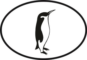 Penguin decal from Oval Envy.  Great price for a durable vinyl decal.  We've got animals, beaches, dogs, cats and more!  Search our catalog for your next Euro Oval Decal.