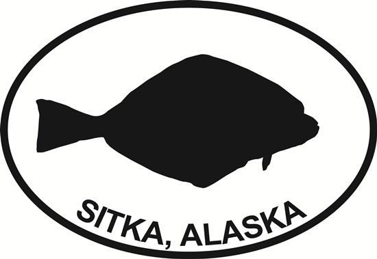 Sitka Halibut decal from Oval Envy.  Great price for a durable vinyl decal.  We've got animals, beaches, dogs, cats and more!  Search our catalog for your next Euro Oval Decal.