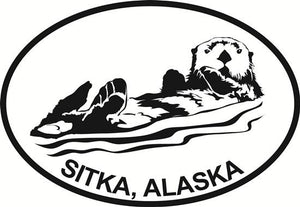 Sitka Sea Otter decal from Oval Envy.  Great price for a durable vinyl decal.  We've got animals, beaches, dogs, cats and more!  Search our catalog for your next Euro Oval Decal.