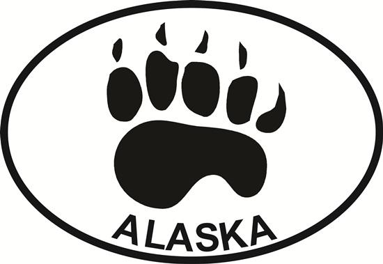 Alaska Bear Paw decal from Oval Envy.  Great price for a durable vinyl decal.  We've got animals, beaches, dogs, cats and more!  Search our catalog for your next Euro Oval Decal.