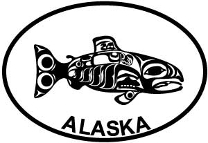 Alaska Totem Fish C decal from Oval Envy.  Great price for a durable vinyl decal.  We've got animals, beaches, dogs, cats and more!  Search our catalog for your next Euro Oval Decal.
