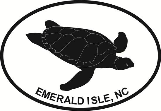 Sea Turtle (Emerald Isle) decal from Oval Envy.  Great price for a durable vinyl decal.  We've got animals, beaches, dogs, cats and more!  Search our catalog for your next Euro Oval Decal.