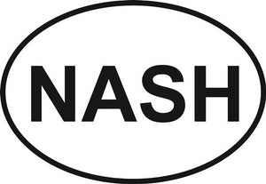 Nashville decal from Oval Envy.  Great price for a durable vinyl decal.  We've got animals, beaches, dogs, cats and more!  Search our catalog for your next Euro Oval Decal.