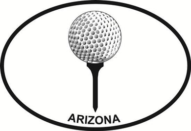 Arizona Golf decal from Oval Envy.  Great price for a durable vinyl decal.  We've got animals, beaches, dogs, cats and more!  Search our catalog for your next Euro Oval Decal.