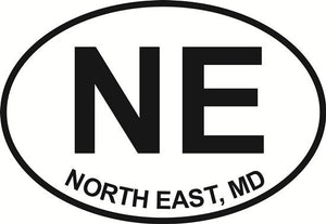 North East Maryland decal from Oval Envy.  Great price for a durable vinyl decal.  We've got animals, beaches, dogs, cats and more!  Search our catalog for your next Euro Oval Decal.